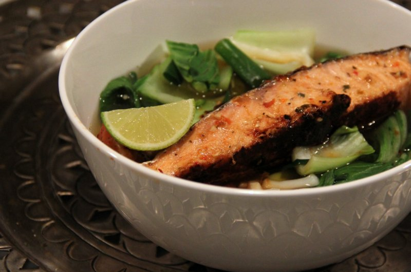 Miso Broth with Salmon & Udon Noodles